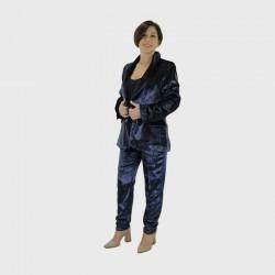 2-Pantalón Reel - Terciopelo brillo azul