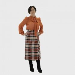Falda Farne - Cuadros naranja