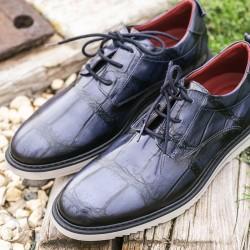 2-Zapato mercurio Tie - Piel-koda navy